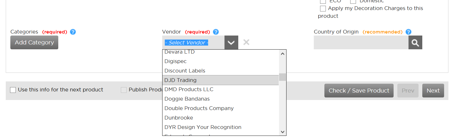 Adding a supplier to a product