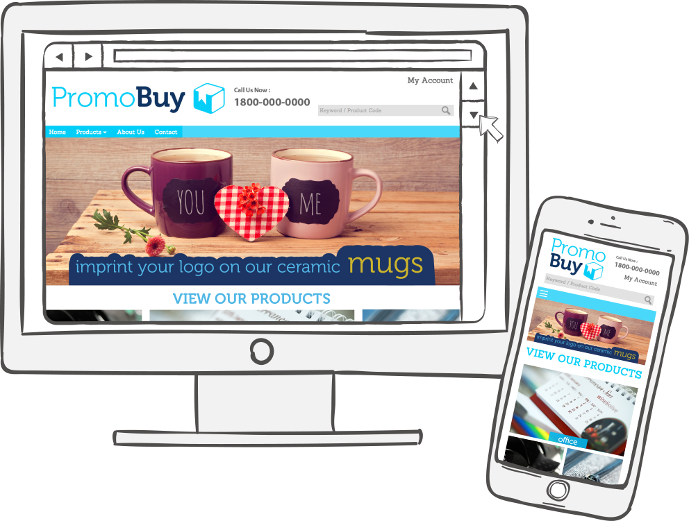 Responsive template for promotional products