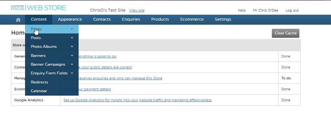 Adding a page to your STORE | Customer Focus Software Help Sheets