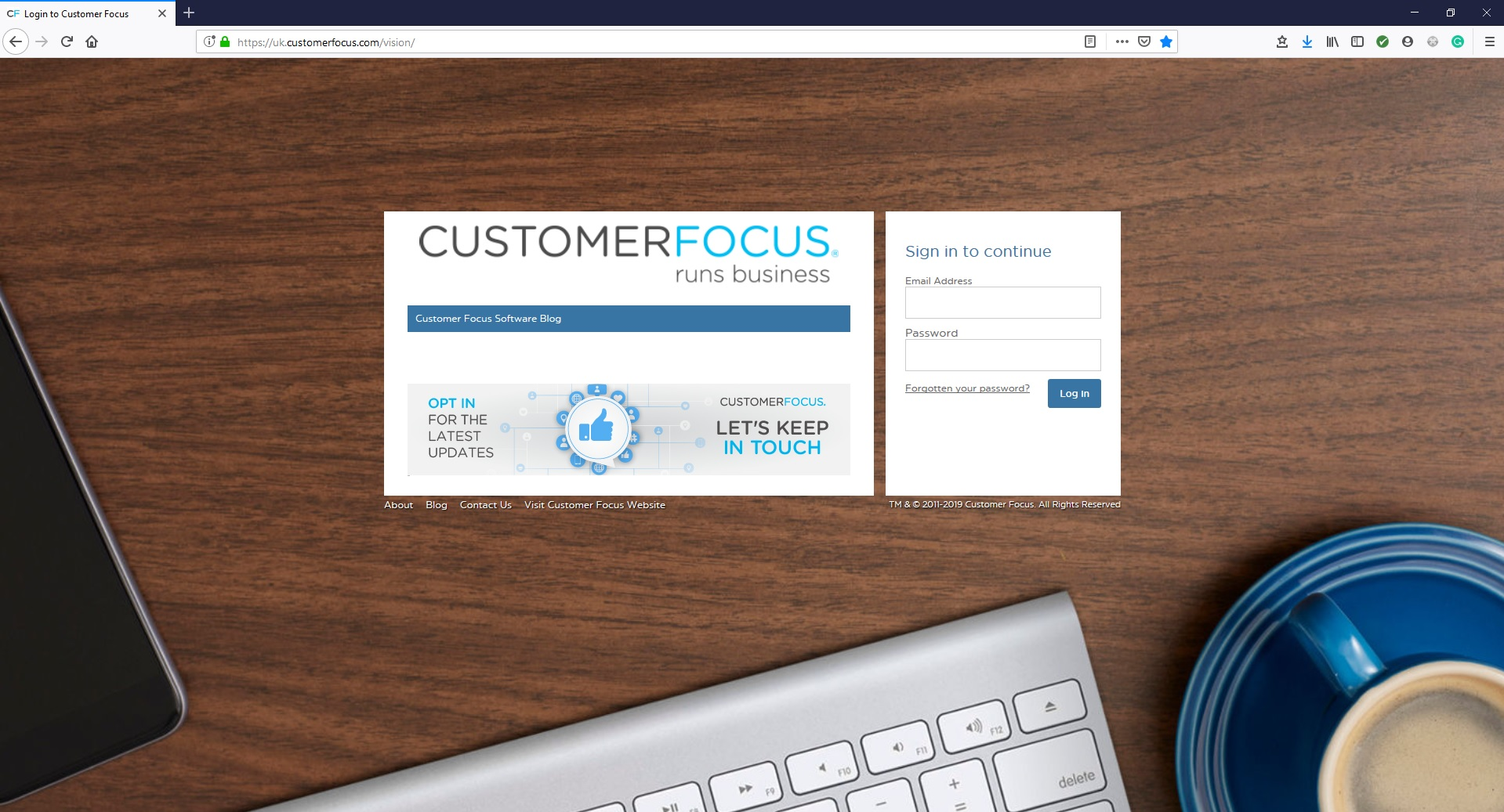 New Customer Focus log in page