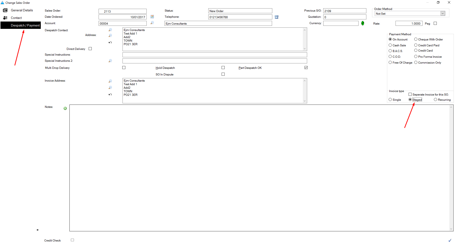 click in to the despatchpayment tab and select staged as the invoice type tick the save changes icon to save the change